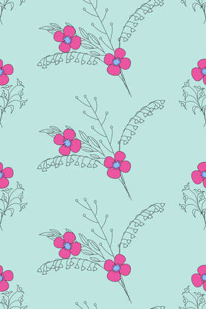 Colorful floral seamless pattern in boho style with hand drawn doodle flowers for packing gift, present, pack paper, textile print, fabric pattern. 일러스트