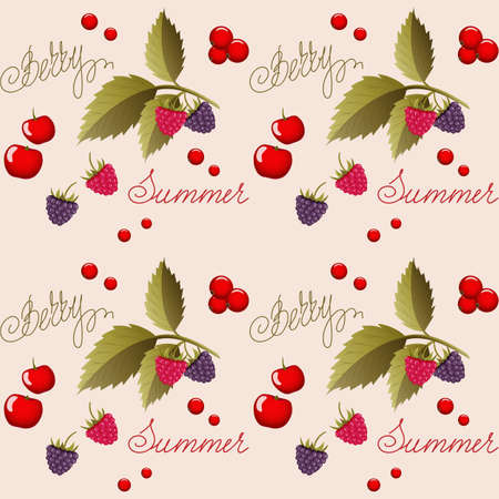 Beige seamless pattern with summer berries and hand writing words for wallpaper, packing gift, present, tea pack paper, textile print, fabric pattern.