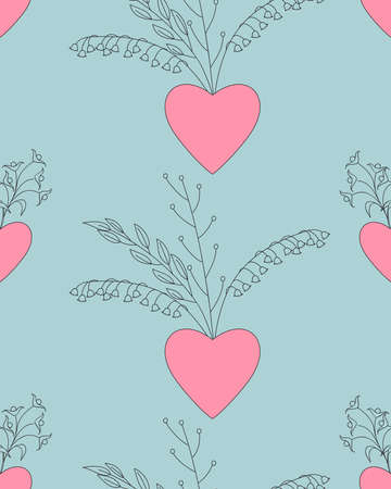 Pink valentine  seamless pattern  with hand drawn patterned  hearts for packing valentine's day gift, present, pack paper, textile print, fabric pattern 일러스트