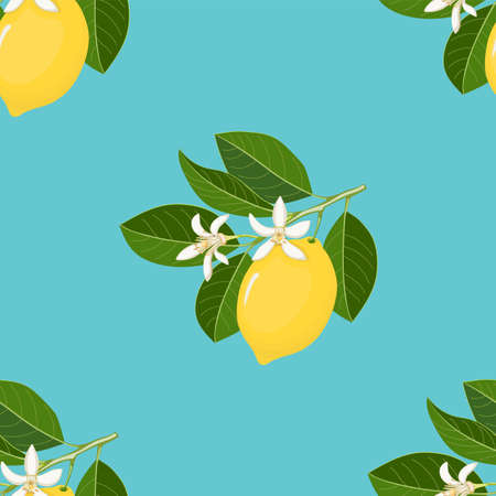 Blue seamless pattern with yellow lemon and blossom for wallpaper, packing gift, present, tea pack paper, textile print, fabric pattern.