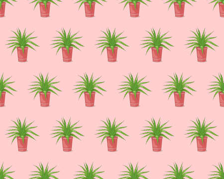 Pink seamless pattern with hand drawn aloe in the pot for wallpaper, packing gift, present, pack paper, textile print, fabric pattern.