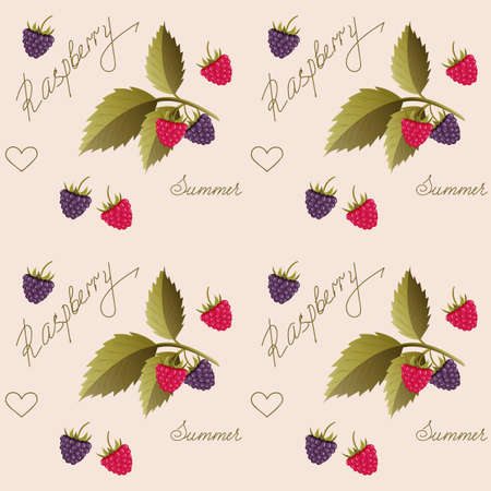 Beige seamless pattern with raspberry and hand writing words for wallpaper, packing gift, present, tea pack paper, textile print, fabric pattern.