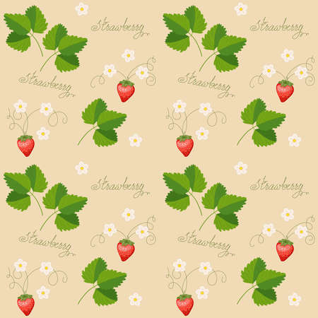 Beige seamless pattern with strawberry, blossom and hand writing words for wallpaper, packing gift, present, tea pack paper, textile print, fabric pattern. Ilustracja