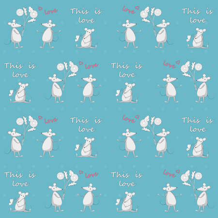 Blue seamless pattern with cartoon mice and hand writing words for kids wallpaper, packing gift, present,  pack paper, textile print, fabric pattern. Ilustracja