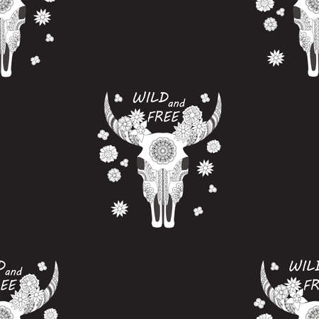 Black seamless pattern with cow skull, flowers and words Wild and free for wallpaper, packing gift, present, pack paper, textile print, fabric pattern.