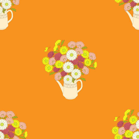 Orange seamless pattern with hand drawn flowers in the teapot for wallpaper, packing gift, present, pack paper, textile print, fabric pattern.