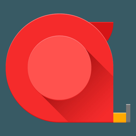 Toy construction tape measure in flat design with long shadow. Square shape icon in simple design. Material vector eps 10. 일러스트