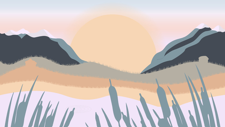 Flat landscape of mountain, lake and forest in evening in warm tone. Vector illustration with sun grass and houses. Illustration