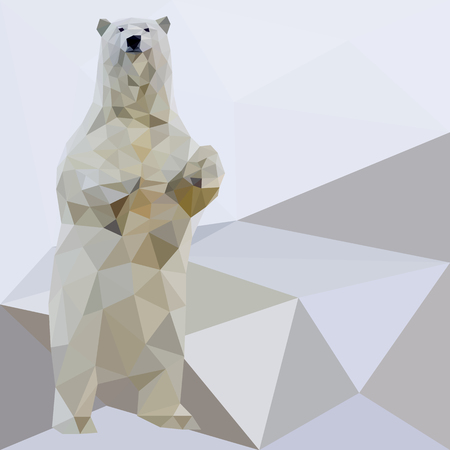 Vector polar bear stylized triangle polygonal model. Low poly design.
