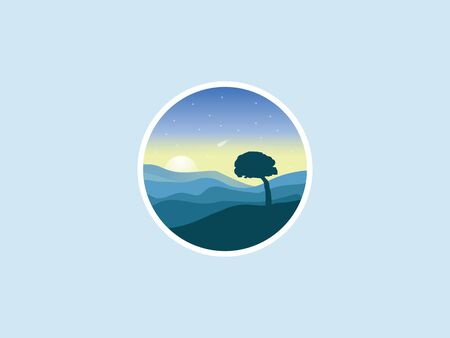 Circle vector morning landscape with alone tree icon.
