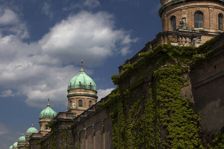 ivy wall and cupolas on Mirogoj