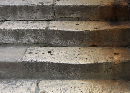 stone stairs colored with corroded scraps