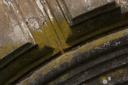 lichen-covered architectural detail