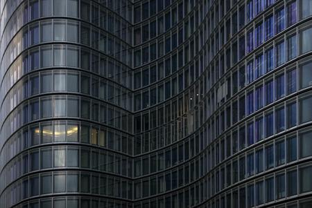 skyscraper with one illuminated office Stock Photo