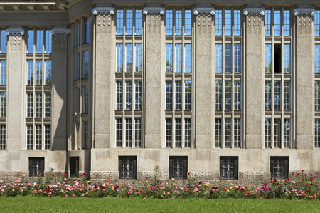 art nouveau facade of former national and university library building in croatia Editorial