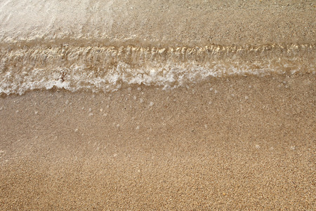 small wave on surface of golden sandy beach
