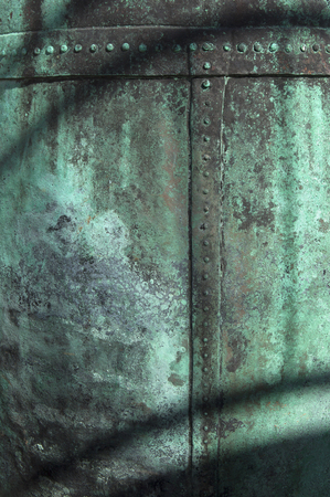 texture of green corrosion on surface of old copper Stock Photo