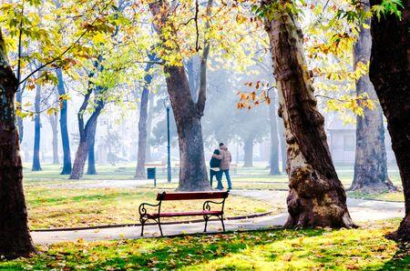 Paar zu Fu� in den Park in einem sonnigen Tag im Herbst Lizenzfreie Bilder