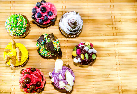 Muffins in diferent shapes and flavors