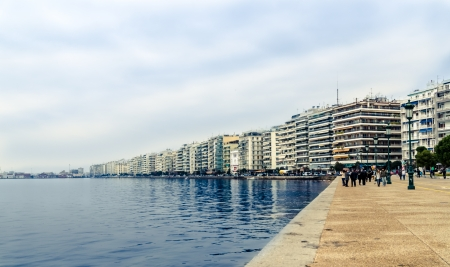 The coast line in the center of the city of Thessaloniki,Greece