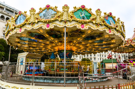 Luna park in the center of the city of Thessaloniki,Greece  Editorial