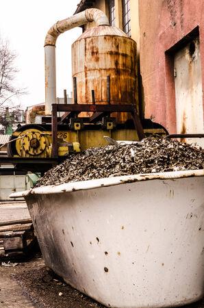 Outside the abandoned factory  Stock Photo