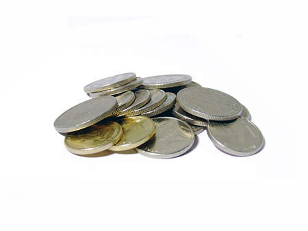 tresure: bunch of coins over white