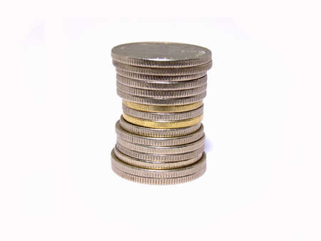 tresure: coin tower on white Stock Photo