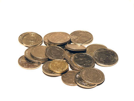 tresure: coins isolated on white Stock Photo