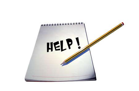 Help written on a notebook photo