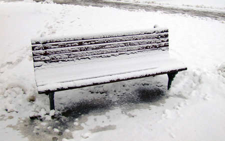 snow bench photo