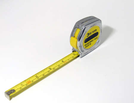 Measure tape on white background Stock Photo