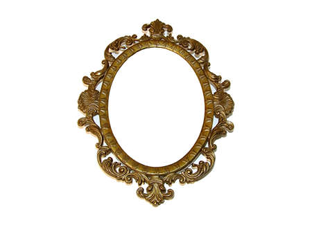 Old beautiful golden frameisolated on white
