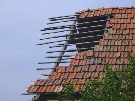arhitecture: old stable roof and sky