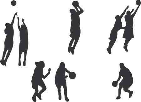 Basketball players silhouettes Illustration