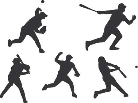 baseball silhouettes Stock Vector - 431725