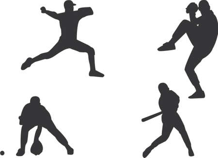 baseball players silhouettes Stock Vector - 431723