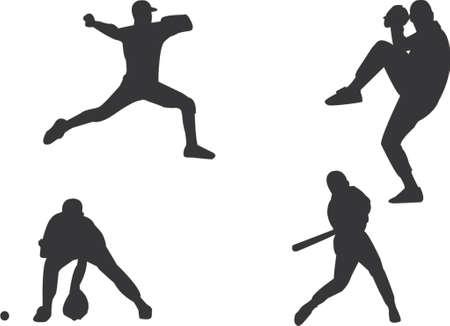 catcher baseball: silhouettes de joueurs de base-ball Illustration