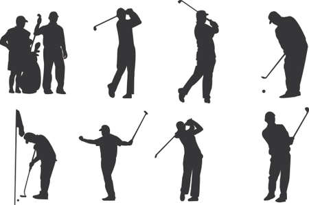 golfer silhouettes Stock Vector - 438045