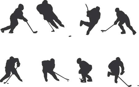 hockey players silhouettes Vector