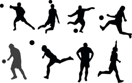 Soccer playing silhouettes Vector