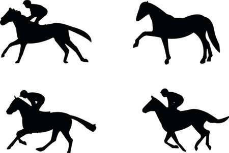 racehorses: Silhouetten van paarden Stock Illustratie