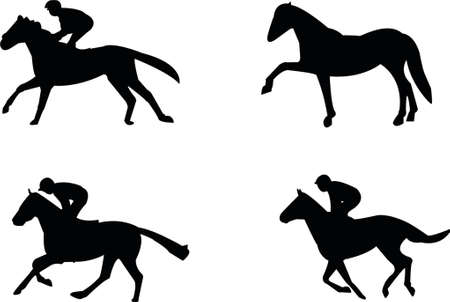racehorses: Silhouettes of horses
