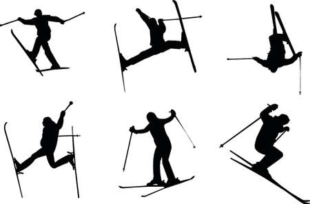 the slope: skiing silhouettes Illustration