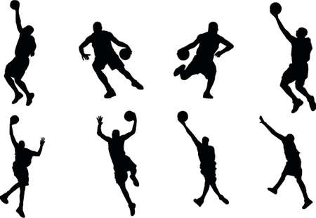 with stamina: basketball player silhouettes Illustration