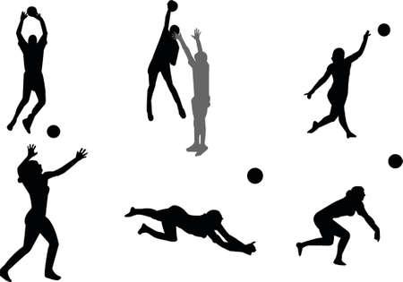 volleyball serve: voleibol siluetas