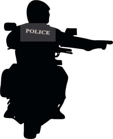 Police biker silhouette Vector