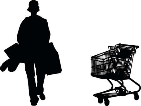 woman credit card: Shoping cart and girl with bags silhouette Illustration