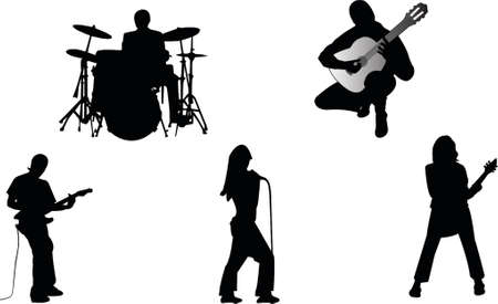 Musician band silhouette Vector