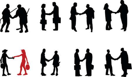 negotiating: handshake silhouette Illustration